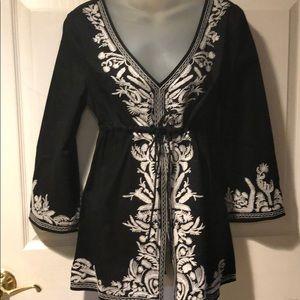 Michael Kors Black & White embroidered  tunic M